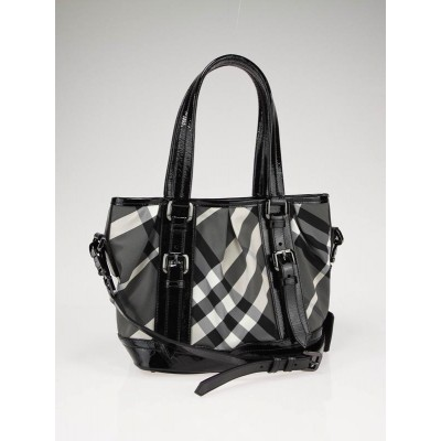 Burberry Black Nylon Check Lowry Baby Beat Tote Bag