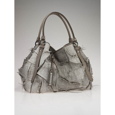 Burberry Prorsum Grey Raffia Patchwork Tote Bag