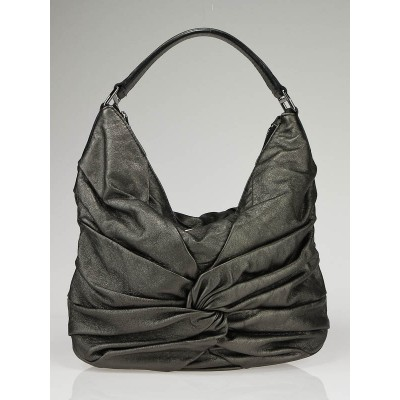 Burberry Grey Metallic Leather Maggie Knot Hobo Bag