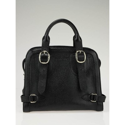 Burberry Black Leather Structured Tote Bag