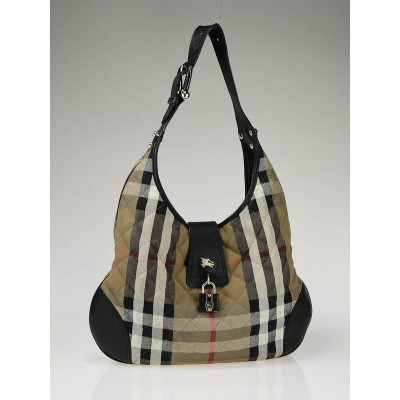 Burberry Brown/Black Nova Check Brook Hobo Bag