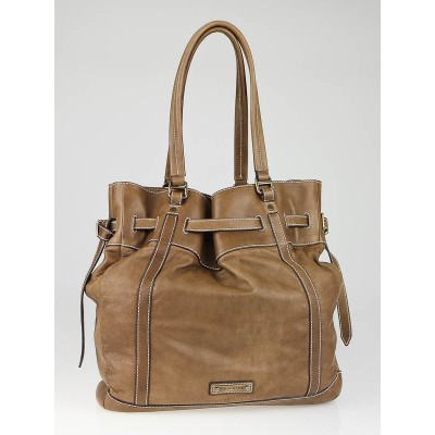 Burberry Tan Lambskin Leather Granville Tote Bag