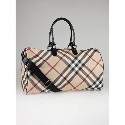 Burberry Nova-Check Coated Canvas Boston Holdall Travel Bag