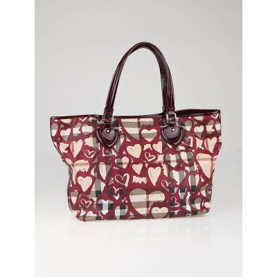 Burberry Coated Canvas Painted Heart Tote Bag