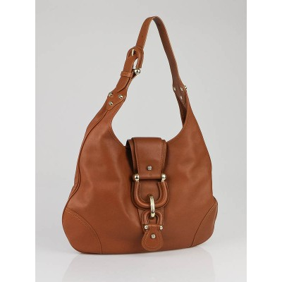 Burberry Brown Leather Buckle Hobo Bag