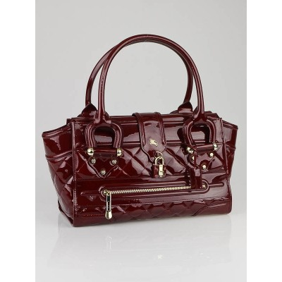 Burberry Burgundy Patent Leather Grande Manor Bag