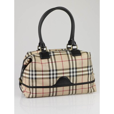 Burberry Check Coated Canvas Satchel Bag