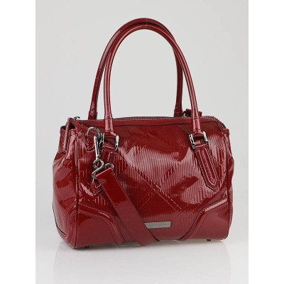 Burberry Red Check Embossed Patent Leather Medium Bowling Bag