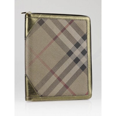 Burberry Metallic Gold Check Coated Canvas Tablet Case