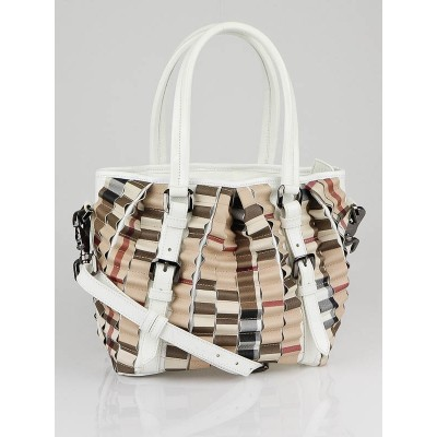 Burberry White Patent Leather Ruffle Check Small Lowry Bag