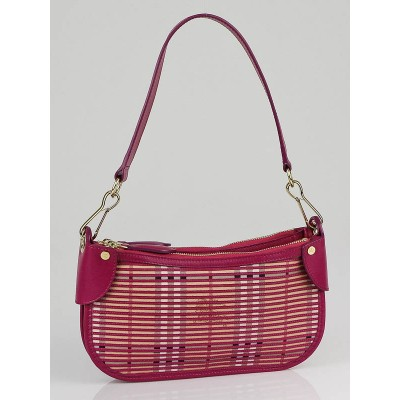 Burberry Rhubarb Pink Haymarket Stripes Sling Clutch Bag