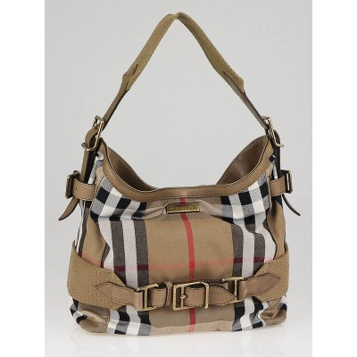 Burberry House Check Canvas Small Parsons Hobo Bag