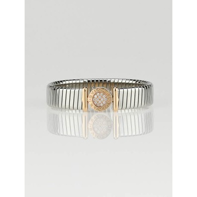 Bvlgari 18k Rose Gold and Stainless Steel Tubogas Small Bracelet