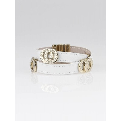 Bvlgari White Double Wrap Leather Bracelet