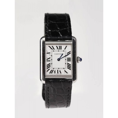 Cartier Tank Solo Stainless Steel Black Embossed Leather Strap Watch W5200003