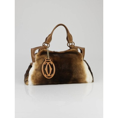 Cartier Brown Rabbit Fur Marcello De Cartier Medium Satchel Bag