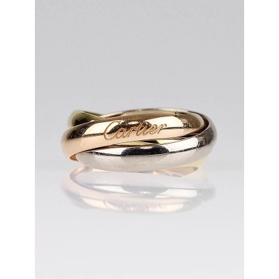 Cartier 18k Gold Classic Trinity Tri-Color Ring Size 4.5