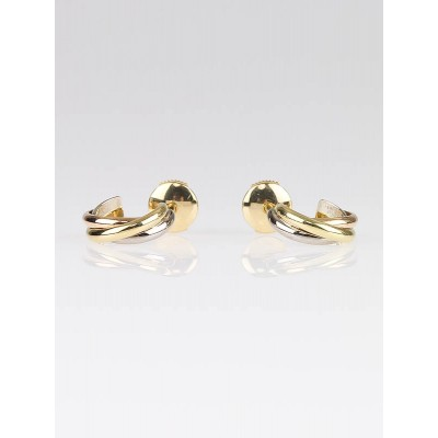 Cartier 18k Tri-Gold Trinity Mini Hoop Earrings