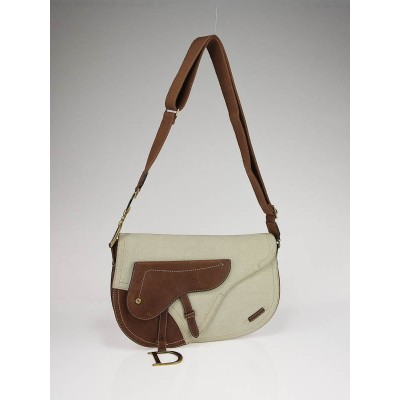 Christian Dior Tan Canvas/Leather Double Saddle Bag