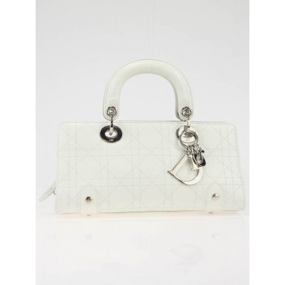 Christian Dior White Leather Lady Dior Cannage Souple Cuir Bag
