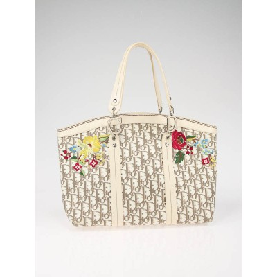 Christian Dior Beige Diorissimo Embroidered Flowers Tote Bag