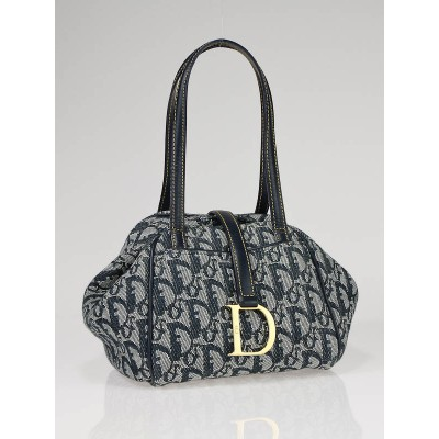Christian Dior Blue Logo Canvas Small Satchel Tote Bag