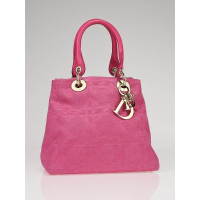 Christian Dior Pink Canvas Cannage Lady Dior Canvas Small Tote Bag
