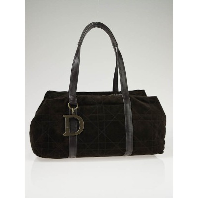 Christian Dior Brown Suede Cannage Polochon Medium Satchel Bag