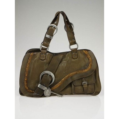 Christian Dior Olive Green Leather Gaucho Bag