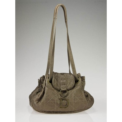 Christian Dior Bronze Metallic Lambskin Leather Cannage Medium Shoulder Bag