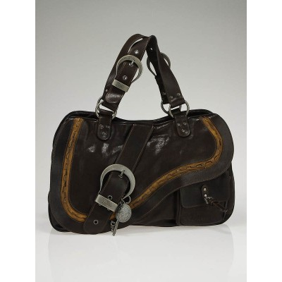 Christian Dior Brown Leather Gaucho Tote Bag