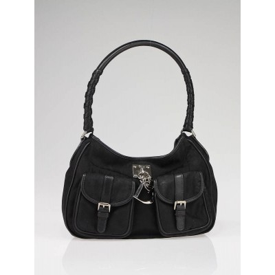 Christian Dior Black Diorissimo Canvas Lovely Hobo Bag