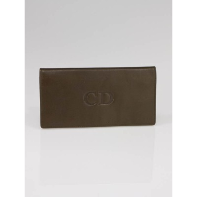 Christian Dior Brown Leather Long Bi-Fold Wallet