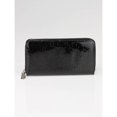 Christian Dior Black Patent Leather Diorissimo Long Zippy Wallet