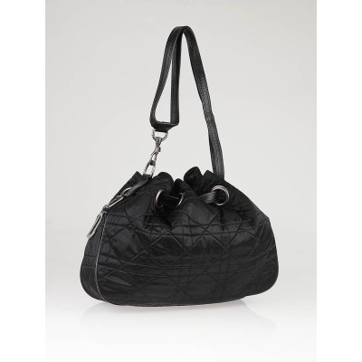 Christian Dior Black Quilted Satin Cannage Medium Drawstring Tote Bag