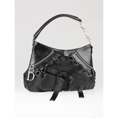 Christian Dior Black Nylon Ballet Shoulder Bag
