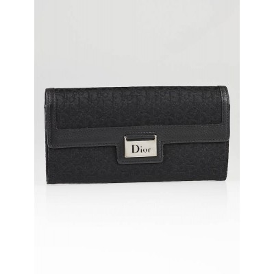 Christian Dior Black Diorissimo Canvas Long Wallet