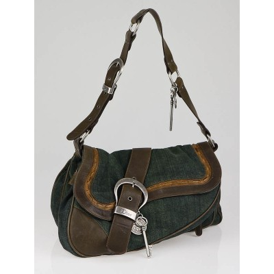 Christian Dior Green Denim Double Gaucho Saddle Bag