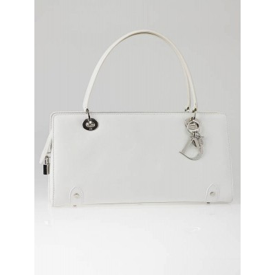 Christian Dior White Leather Lady Dior East/West Shopper Bag