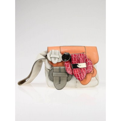 Chloe White/Coral Patchwork Leather Saskia Clutch Bag