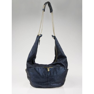 Chloe Midnight Metallic Leather Milton Hobo Bag
