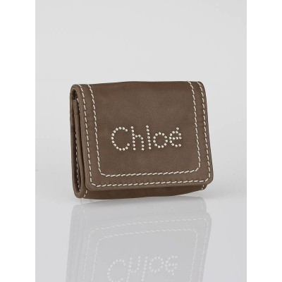 Chloe Brown Leather Studded Coin Purse