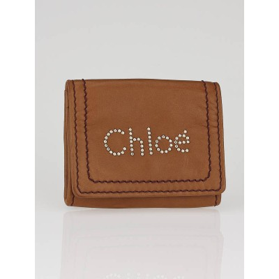 Chloe Whiskey Leather Studded Chloe Coin Purse