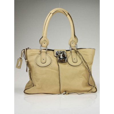 Chloe Tan Lambskin Leather Paddington Tote Bag