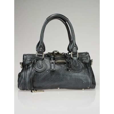Chloe Metallic Anthracite Leather Paddington Medium Satchel Bag