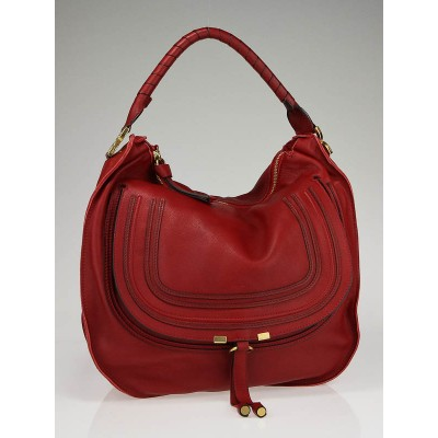 Chloe Garnet Leather Marcie Horseshoe Large Hobo Bag