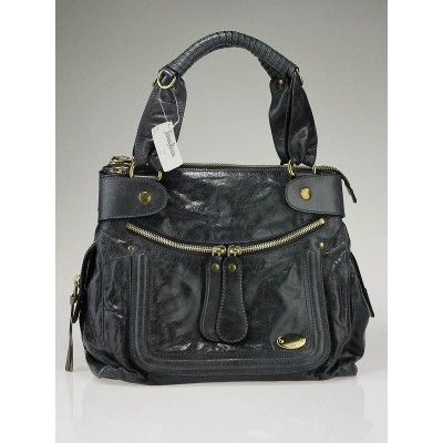 Chloe Charbon Leather Bay Large Tote Bag