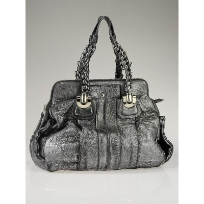 Chloe Silver Leather Heloise Satchel Bag