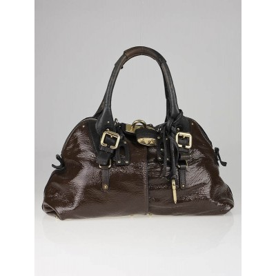 Chloe Ardoise Patent Leather Large Dome Paddington Bag