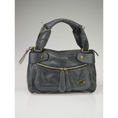 Chloe Charbon Leather Large Bay Bag